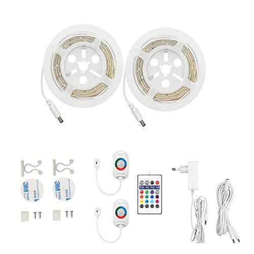 LED Streifen mit Bewegungsmelder RGB, AveyLum Mehrfarbig Nachtlicht Streifen Dimmbar Bewegungssensor Lichtleiste Baby Beleuchtung, 2x 1.5M Länge mit Fernbedienung Timer