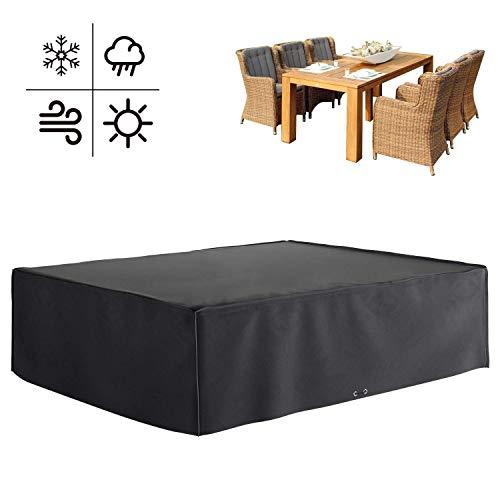 Mvpowef MVPOWER afdekzeil 600D afdekhoes beschermhoes voor tuinmeubelen en meubelsets en tuintafels, rechthoekige zitmeubels (300x250x90cm)