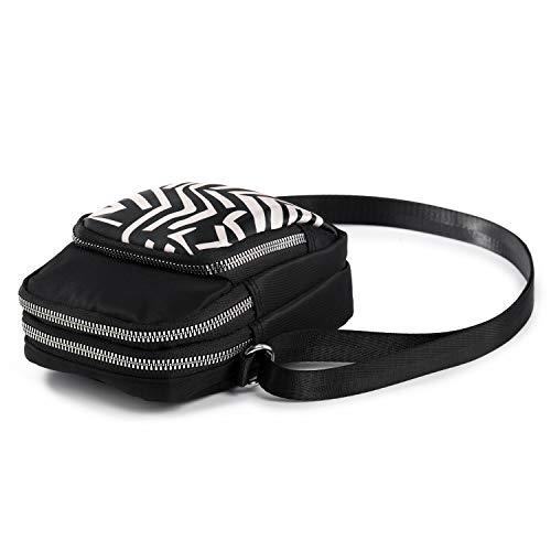 Mini Bolsos Bandolera Bolso de Teléfono Movil Bolsos Pequeño de Mujer Niña Bolso Cruzados de Nailon con 3 Compartimentos (Hojas)