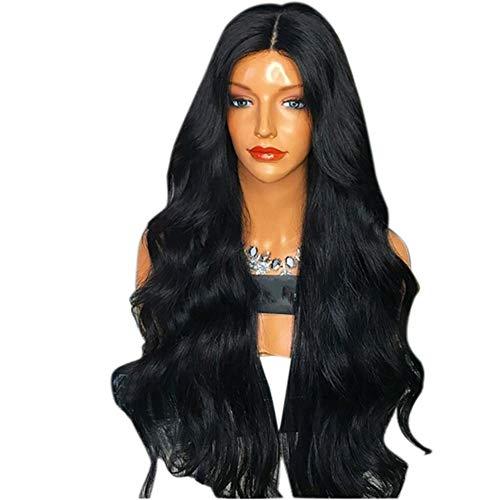 AMUSTER Damenperücken mit gestuftem, gewelltem, langem, 70CM Natürliche Party Perücke Weibliche Lange Lockige Hübsche Schwarze Farben Haar Synthetische Perücke (70CM, Schwarz)