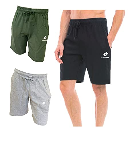 Lotto Bermuda Uomo, Offerta 2 e 3 Pezzi, Bermuda in Felpa Estiva, Pantaloncini Uomo Sportivi Pantalone Tuta Uomo (2 Pezzi 1 Grigio+ 1 Militare, XL)