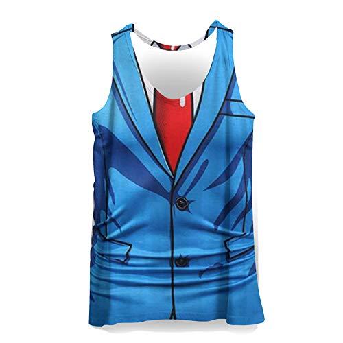 Hiser 3D Drucken Herren Tank Top Sommer, Sport Muskelshirt Ärmellos T Shirt Fitness Unterhemd Top Shirt für Outdoor Beach Party oder Gym Jogging Running (Hellblau,L)