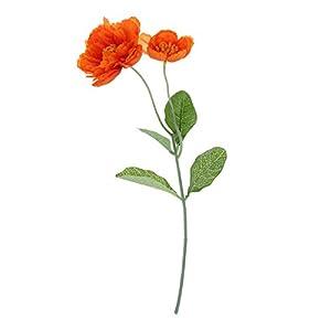 BESTOYARD 1PC Fake Beautiful Artificial Flowers Poppy Stem Silk Flowers for Home Wedding Party Xmas Year Decoration Gift (Nacarat)