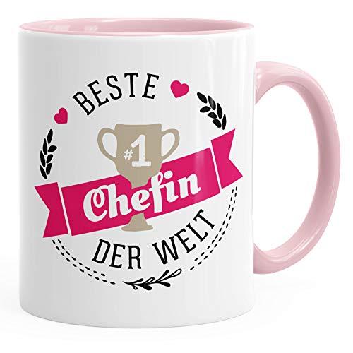 Kaffee-Tasse beste Chefin der Welt Geschenk für Chefin MoonWorks® rosa unisize