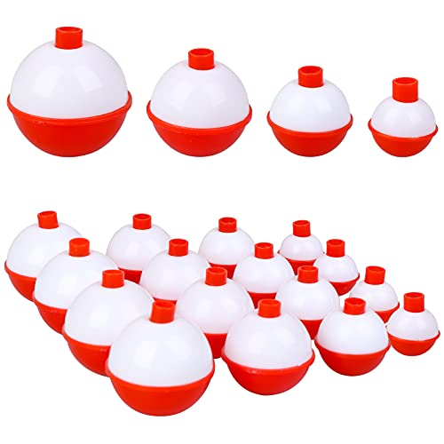 16Pcs Fishing Bobbers, 4 Size Snap Hard ABS Fishing Float Red and White Fishing Bobbers for Fishing Buoy Tackle Accessories 2.5 3 3.5 4cm