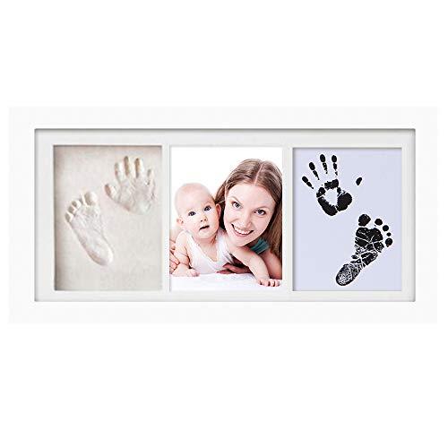 feihao Baby Handabdruck Fußabdruck Ton Fotorahmen, Baby Handabdruck und Fußabdruck, Casting & Druck-Kits Geschenk für Baby Taufe, Zeremonie, Party(Weiß)