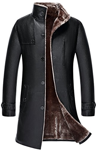 WS668 Hohe Qualität Herren Lange Winter Warm Dicke Kunst Schaffell Mäntel Pelz Leder Slim Fit Trenchcoat Mäntel Jacke Lamm Wolle Futter Men's Leather Coat Jacket (Schwarz, EU/DE X-Large)