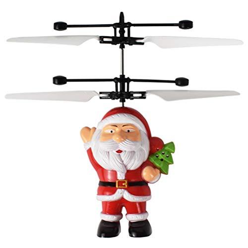 PRETYZOOM 1 pieza de juguete volador de inducción recargable Santa Claus en forma de juego volador (rojo)