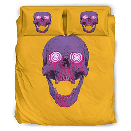 Purple Skull Yellow All Season Microfiber Comforter Sets Lightweight Bedding Duvet Cover 4 Piece Sets With Pillow Cases white 203x230cm