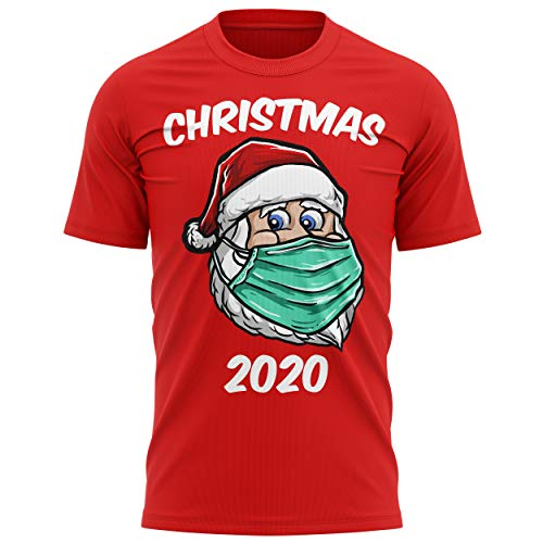Purple Print House Mens Funny Santa Claus Lockdown Christmas 2020 T Shirt, Fancy Dress for Him or Her, Santa Mask Face Cover Present, L, Red