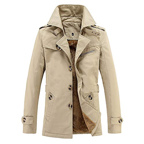 GITVIENAR Herren Übergangsjacke, Langarm Trenchcoat Mantel Kurzmantel Einreihig Jacke 100% Baumwolle winterjack für Jugendliche und Erwachsene