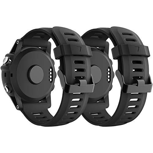 SUPORE Garmin Fenix 3 Correa de Reloj, reemplazo Respirable Suave del silicón Pulsera Hermosa Deporte y edición para Fenix 3/Fenix 3 HR/Fenix 5X Multi-Colors Smart Watch (Negro + Negro)