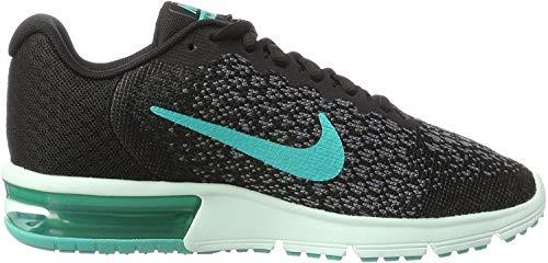 Nike Damen WMNS AIR MAX Sequent 2 Laufschuhe, Schwarz (Noir/gris Froid/Anthracite/Jade Transparent), 38 EU