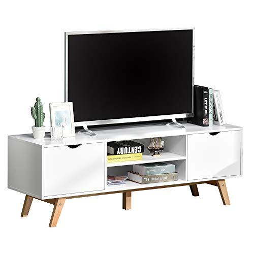 HOMCOM TV Schrank, TV-Kommode, Schrankelement mit Schubladen und Offene Regale, MDF, Weiß, 150 x 39 x 50 cm