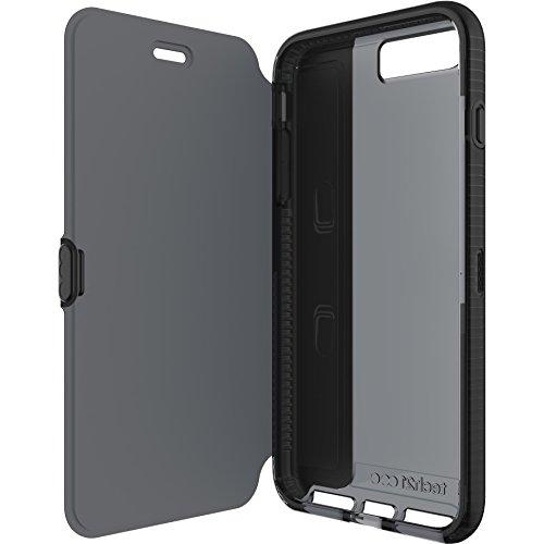 Tech21 Evo Wallet Flip Folio Schutzhülle Widerstandsfähig Schlagfest mit FlexShock Aufprallschutz & Kartenfach für iPhone 7 Plus - Schwarz