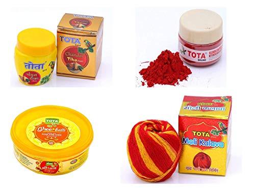 TOTA Combo of Ghee Batti, Chandan, Roli and Kalawa, Hindu Pooja Items for Home-300 Gram