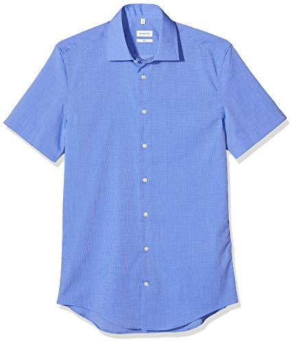 Seidensticker Herren Business Hemd Slim Fit Businesshemd, Blau (Mittelblau 11), (Herstellergröße: 43)