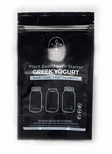 Plant Based Greek Yogurt Kefir Starter - Alive and Active Kit will produce 12 quarts of dairy free Greek yogurt kefir - over 100 billion CFUs per serving