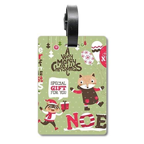 Etiqueta de identificación para Maleta de Navidad con diseño de Animales, para Festivales de Navidad