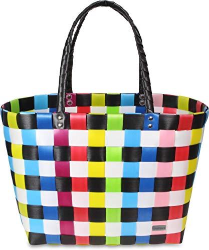 normani Kunststoff Flechtkorb - optimal als Einkaufs- oder Strandkorb geeignet Farbe Classic/Multicolor