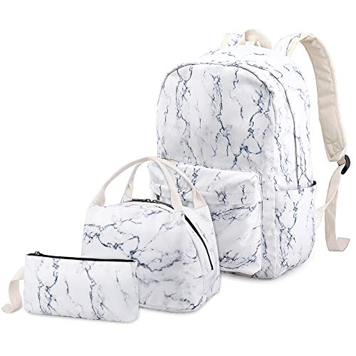 School Bags Backpack Set Teen Girls Bookbag with Lunch Box Bag and Pencil Case for 14inch Laptop (Marble)