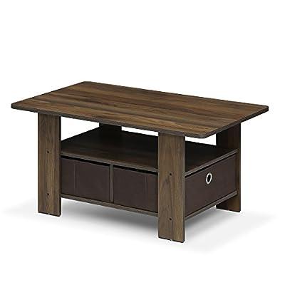 Furinno 11158DBR/BK Coffee Table with Bins