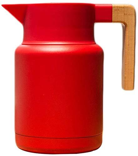 Termos cafeteras acero inoxidable, termo, alta capacidad, aislamiento al vacío, mango de madera de alta calidad, para té frío y caliente café, cocina, oficina-red  1.3L