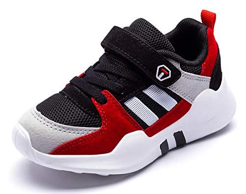 Dziecięce Sneakersy Chłopcy Buty do biegania Dziewczynki Buty Sportowe Outdoorowe Buty do Biegania Buty Trekkingowe Dziecięce Zapięcie na Rzepy Oddychające Buty do Tenisa Buty do Koszykówki Czerwony 26