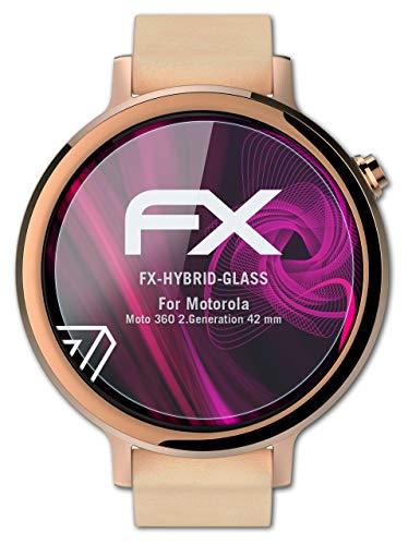 atFoliX Glasfolie kompatibel mit Motorola Moto 360 2.Generation 42 mm Panzerfolie, 9H Hybrid-Glass FX Schutzpanzer Folie