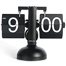 MIDCLOCK Flip Clock, Home Décor Desk Clock, Retro Auto Flip Down Clock, Vintage Large Number Clock, Stainless Steel, Battery Powered, Digital Clocks for Living Room Décor (Classic Black)