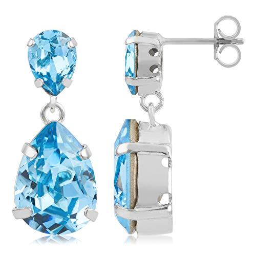 Córdoba Jewels   Pendientes en plata de ley 925 con cristales by Swarovski con diseño Lágrima Lux Calcedonia Swarovski Silver