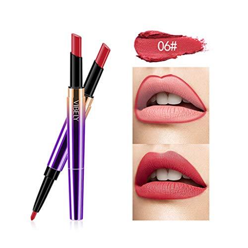 Kolylong Rouge à lèvres Double tête Femme Crayon à lèvres Cosmétique maquillage des lèvres Lining Durable Imperméable lipstick Lipliner Longue Durée Soins à Lèvres cosmétique beauté (F)