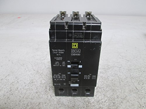 SQUARE D EDB34080 THERMAL MAGNETIC CIRCUIT BREAKER 80ANEW OUT OF BOX