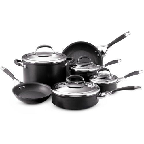 Circulon 80288 Elite Hard Anodized Nonstick Cookware Pots and Pans Set, 10 Piece, Charcoal