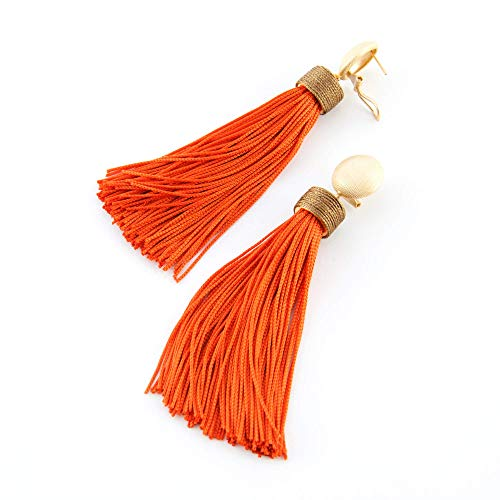 Pendientes largos mujer borla fleco de seda combinado con capuchón estilo boho Cierre omega étnico, Hecho a mano, seda vintage. Marrón y naranja.