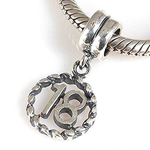 SoulBeads - Ciondolo in Argento Sterling 925, Stile Europeo, con Numero 18 Portafortuna, per Braccialetti Pandora