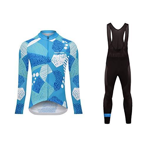 Sports Wear Uglyfrog Maillot de Ciclismo de Mangas Largas Invierno Thermal Fleece con Culotes para Mujer, Sets Ropa Ciclismo, Trajes de Ropa de Bicicleta Forro de Lana Térmico Cálido(Dos Piezas)
