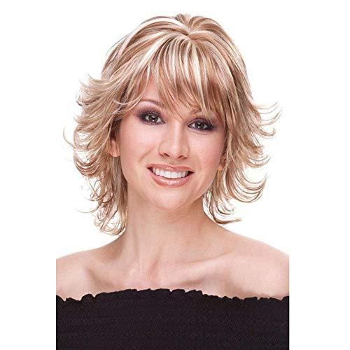 Cheveux bouclés courts teints en or, 30 cm, cheveux artificiels, soie haute température en fibres chimiques, perruque utilisée par les femmes pour un usage quotidien