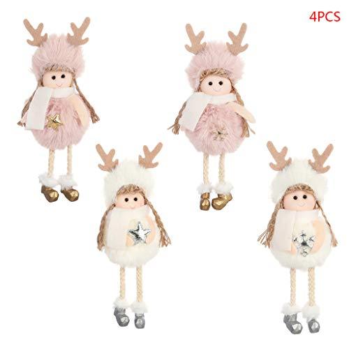 4 pezzi VIVIANU angioletto di Natale peluche bambola giocattolo albero di Natale ciondolo ornamento creativo principale decorazione.