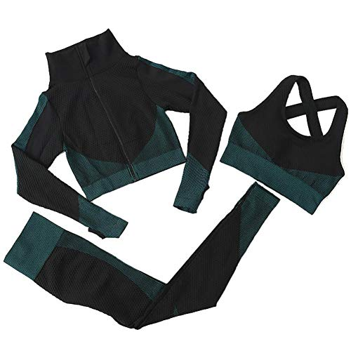 3pcs sin Fisuras Las Mujeres Traje Yoga Escudo de Manga Larga Chaleco Polainas de Fitness Gimnasio chándal de Deporte de la Ropa del (Verde negruzco, M)