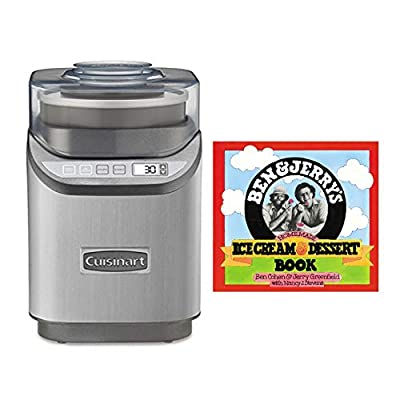 Cuisinart ICE-70 Electronic Ice Cream Maker, Brushed Chrome,with Homemade 'Ice Cream & Dessert' Book Bundle (2 Items)