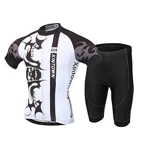 YFPICO Abbigliamento Ciclismo Uomo Completo Maglia Ciclismo con Pantaloni Corti da Ciclismo,Rapida Magliette MTB Abbigliamento Mountain Bike, Stampa Teschio Bianco, L