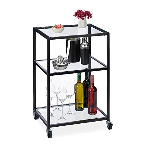 Relaxdays Servierwagen, 3 Ebenen, moderner Rollwagen für Küche, Bar, Wohnzimmer, Glas & Stahl, HBT 76x50x40 cm, schwarz