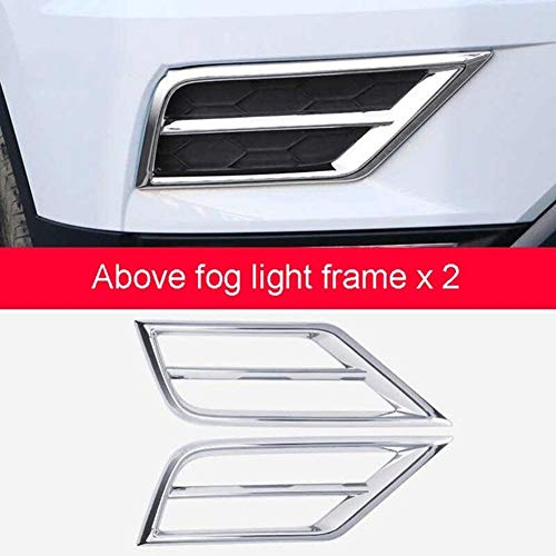 Car-Styling Fit for Tiguan 2017 2018 Gepasst Fit for Volkswagen Tiguan 2 MK2 2016 Kühlergrill Nebelscheinwerfer Lampen Rahmen Trim Aufkleber Abdeckung Zubehör (Color : Above 2PCS)