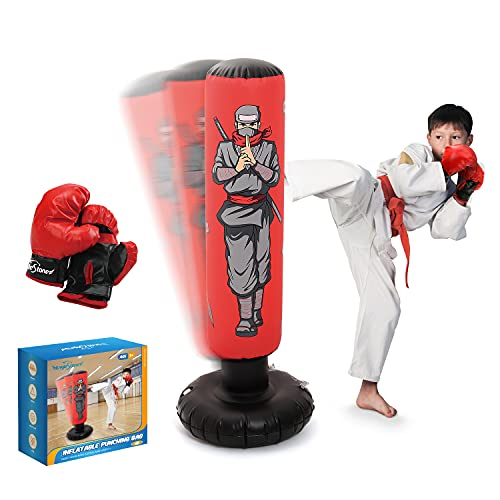 Inflatable Kids Punching Bag with Boxing Gloves, 47' High Free Standing Bounce Back Bag for MMA,...