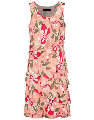 Taifun Damen Ärmelloses Sommerkleid figurumspielend, leicht ausgestellt Apricot Blush Gemustert 44