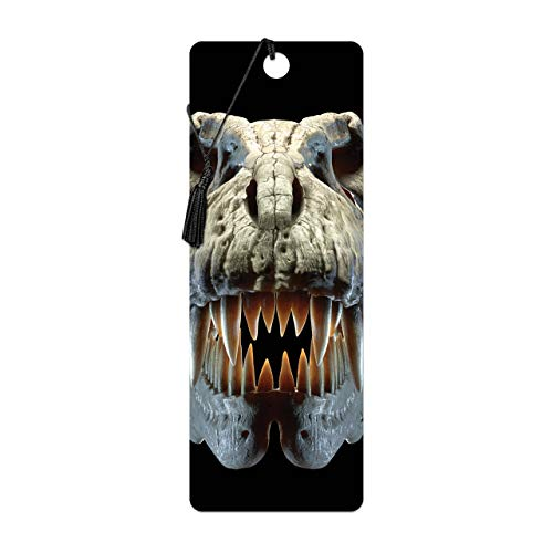 3D LiveLife Bookmark - T-Rex Skull from Deluxebase. A Dinosaur Book Marker with lenticular 3D Artwork Licensed from Renowned Artist David Penfound