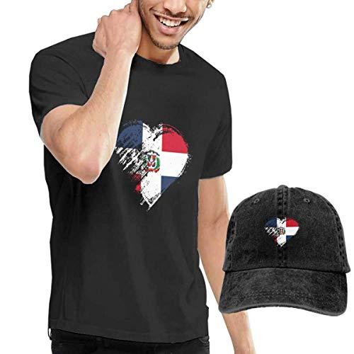 Hdadwy Bandera de corazón República Dominicana Moda Hombres Camisetas Mangas Cortas y Sombreros de Mezclilla Combinación