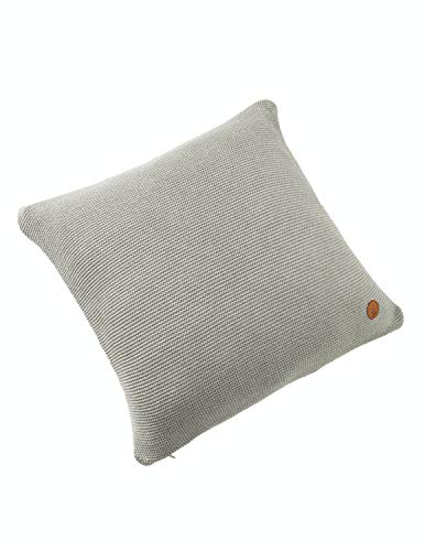 Bio Strick-Kissenbezug 100% Bio-Baumwolle (kbA) GOTS zertifiziert, Grau-Vanille Melange, 50 x 50 cm