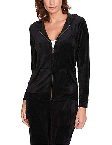 Gloria Vanderbilt Women's Ellie Velour Full Zip Hoodie. Size: Small. Black